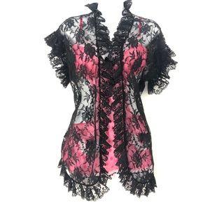 VINTAGE FREDRICKS OF HOLLYWOOD Black Lace Robe
